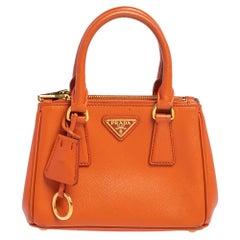 Prada Orange Saffiano Leather Mini Galleria Tote