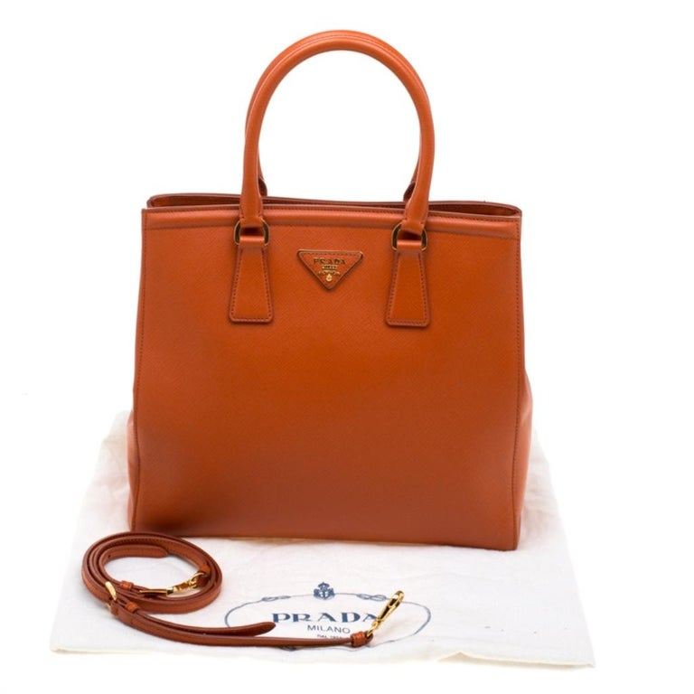 Prada Orange Saffiano Leather Parabole Tote For Sale 7