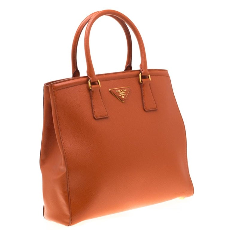 Women's Prada Orange Saffiano Leather Parabole Tote For Sale