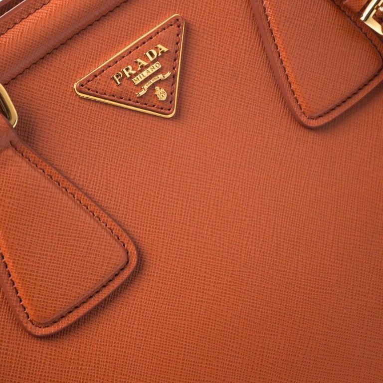 Prada Orange Saffiano Leather Parabole Tote For Sale 2