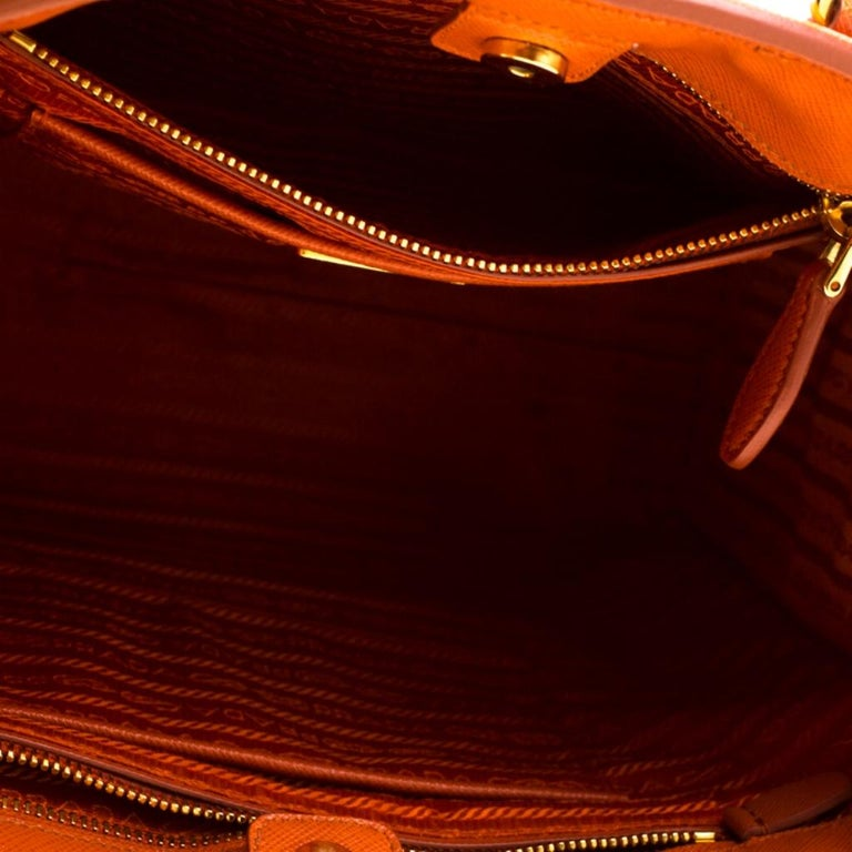 Prada Orange Saffiano Leather Parabole Tote For Sale 3