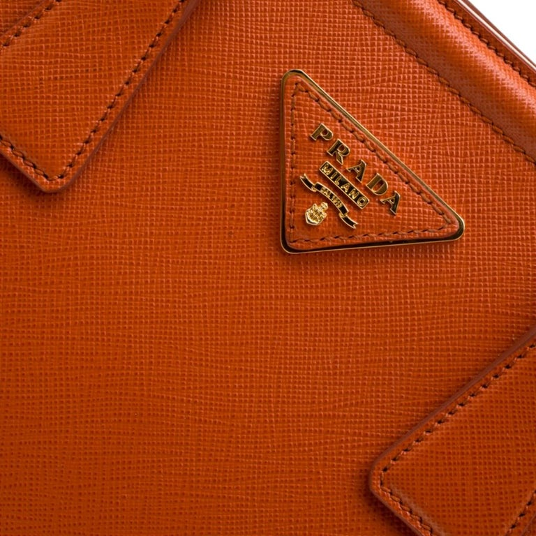 Prada Orange Saffiano Leather Parabole Tote For Sale 4