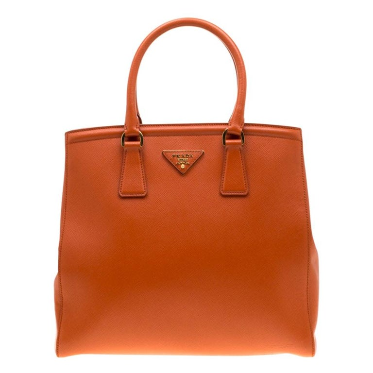 Prada Orange Saffiano Leather Parabole Tote For Sale