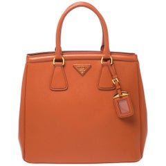 Prada Orange Saffiano Leather Parabole Tote