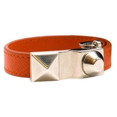 Prada Orange Saffiano Leather Studded Buckle Bracelet