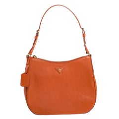 Prada Orange Saffiano Lux Leather Hobo