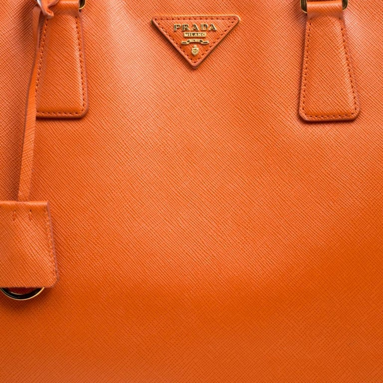 Prada Orange Saffiano Lux Leather Large Gardener's Tote For Sale 6