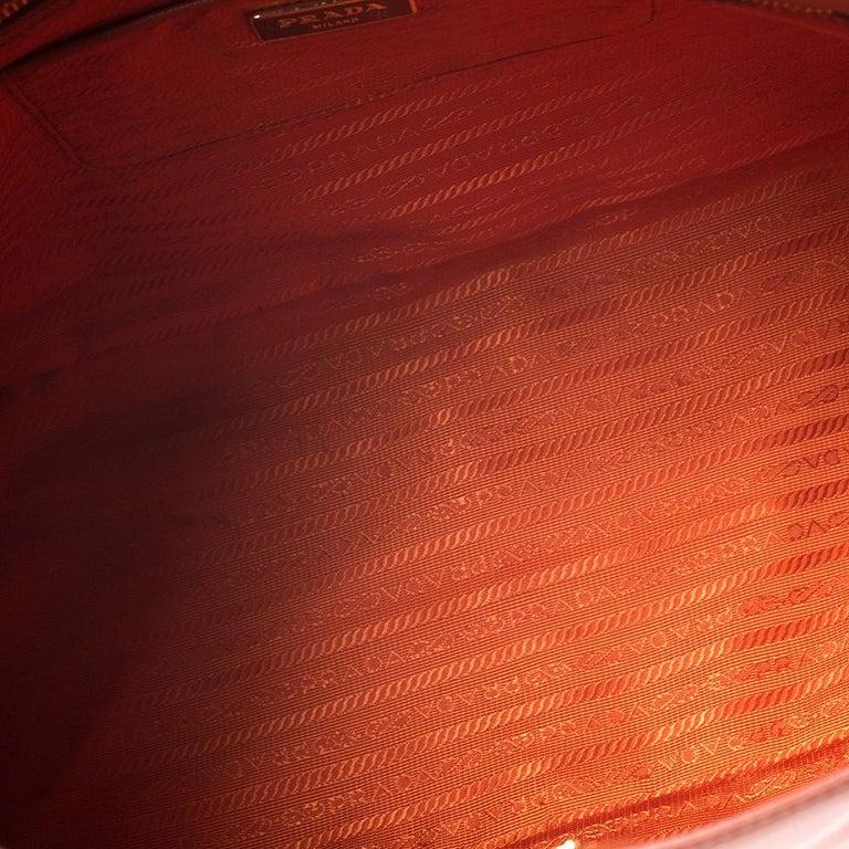 Prada Orange Saffiano Lux Leather Large Gardener's Tote For Sale 6