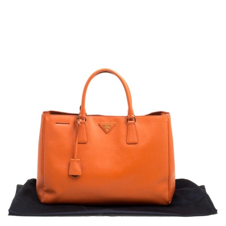 Prada Orange Saffiano Lux Leather Large Gardener's Tote For Sale 7