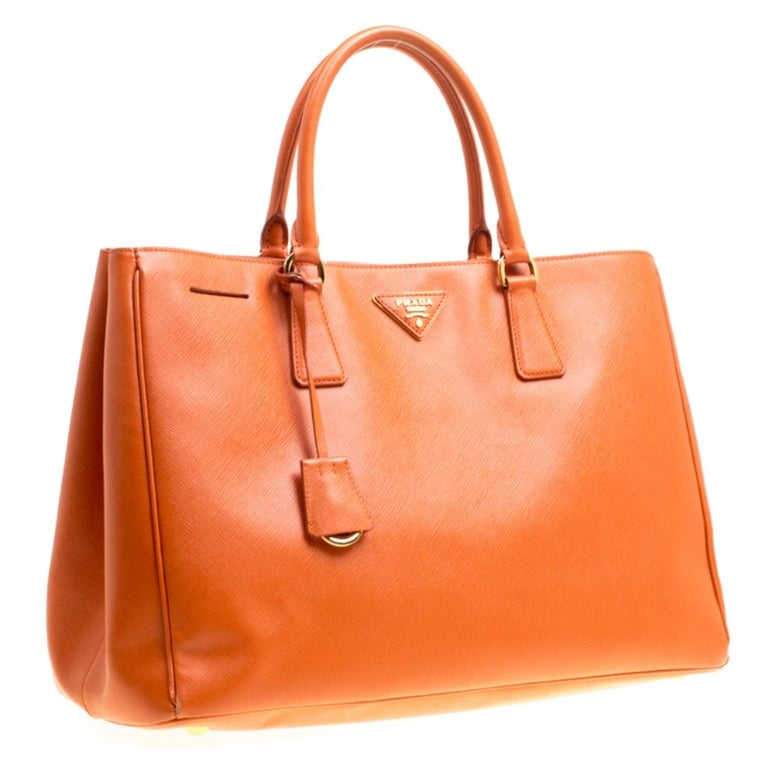 Women's Prada Orange Saffiano Lux Leather Large Gardener's Tote For Sale