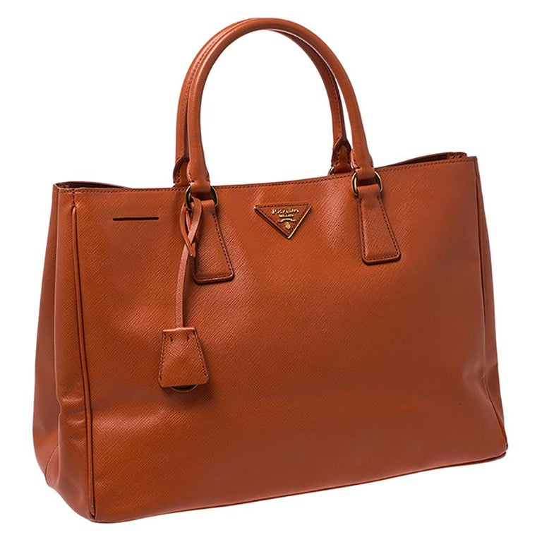 Women's Prada Orange Saffiano Lux Leather Large Gardener's Tote For Sale