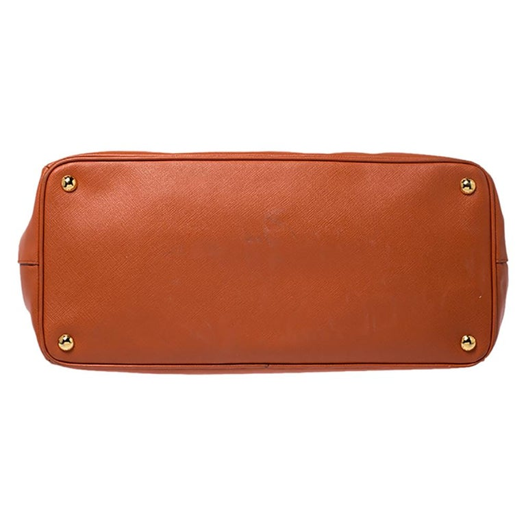 Prada Orange Saffiano Lux Leather Large Gardener's Tote For Sale 1