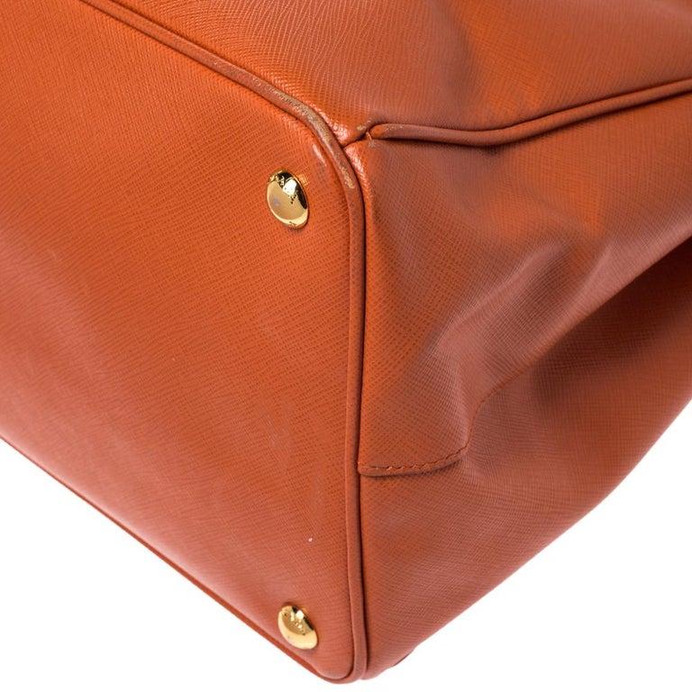 Prada Orange Saffiano Lux Leather Large Gardener's Tote For Sale 3