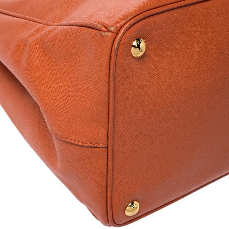 Prada Orange Saffiano Lux Leather Large Gardener's Tote For Sale 4