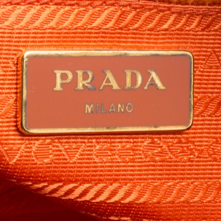 Prada Orange Saffiano Lux Leather Large Gardener's Tote For Sale 5