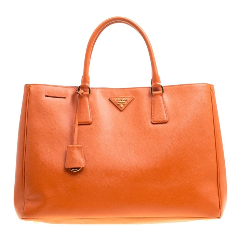 Prada Orange Saffiano Lux Leather Large Gardener's Tote For Sale