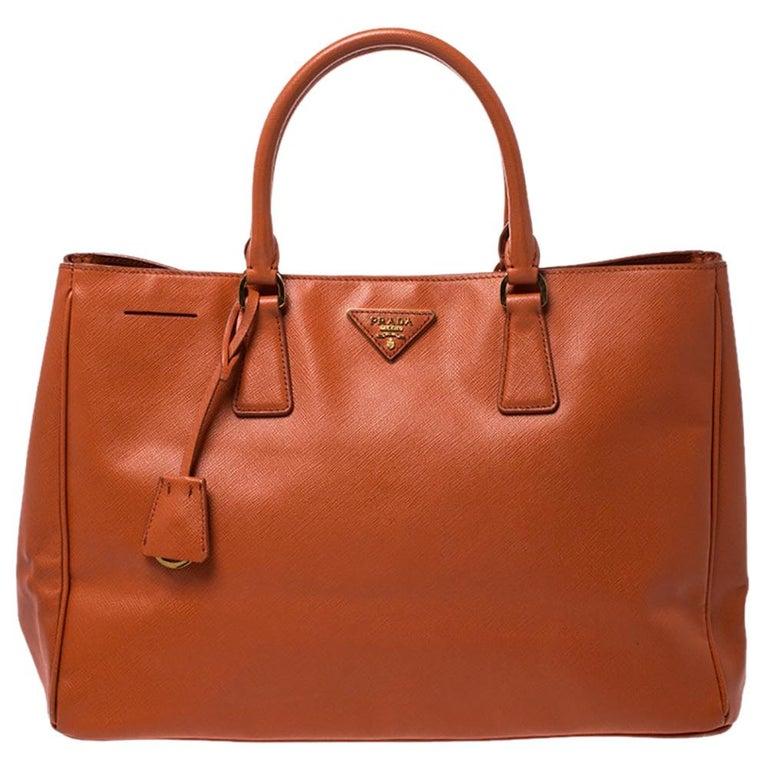 Prada Orange Saffiano Lux Leather Large Gardener's Tote For Sale
