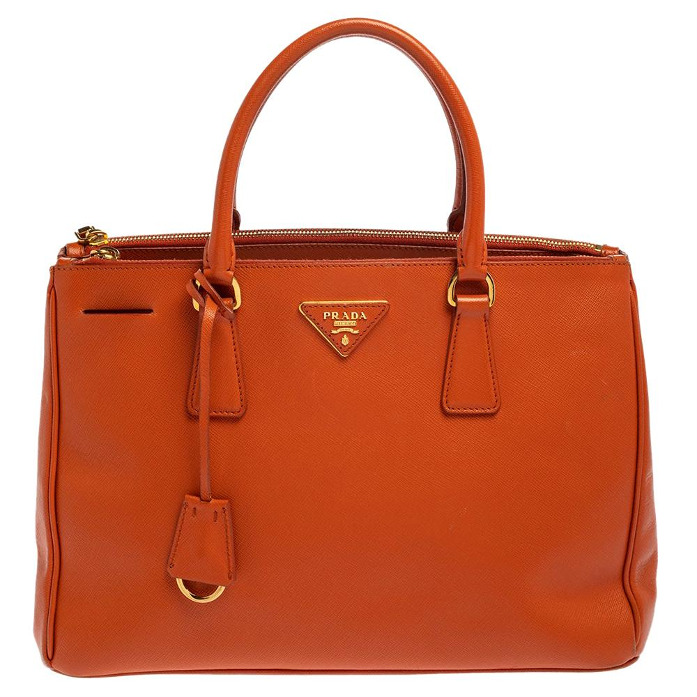 Prada Orange Saffiano Lux Leather Medium Double Zip Tote
