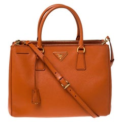 Prada Orange Saffiano Lux Leather Medium Double Zip Tote