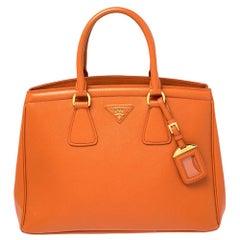 Prada Orange Saffiano Lux Leather Parabole Tote Bag