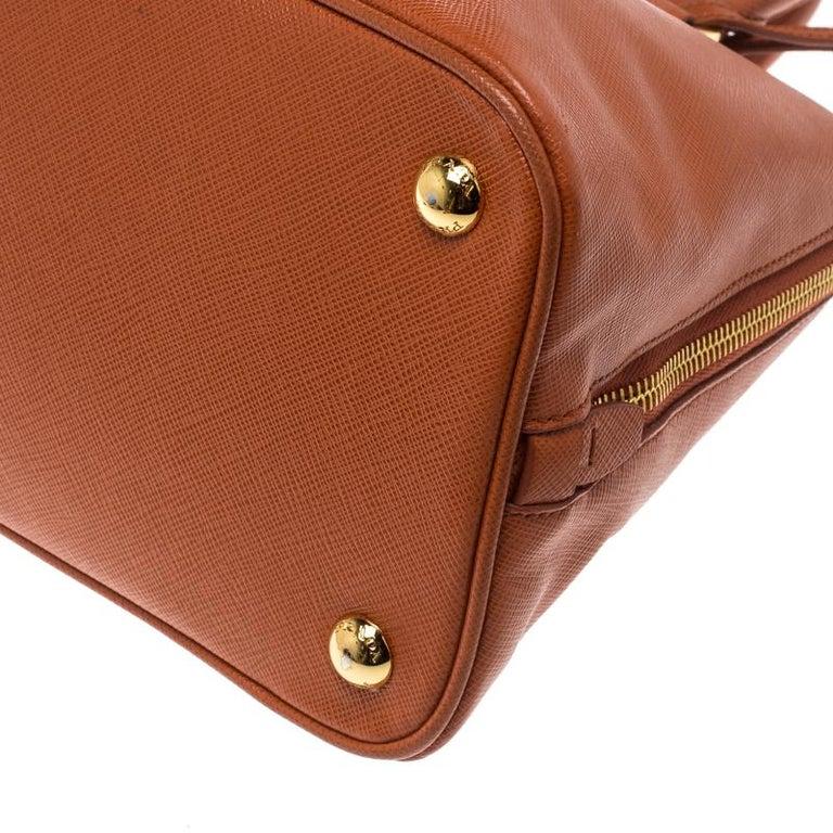 Prada Orange Saffiano Lux Leather Promenade Tote For Sale 6