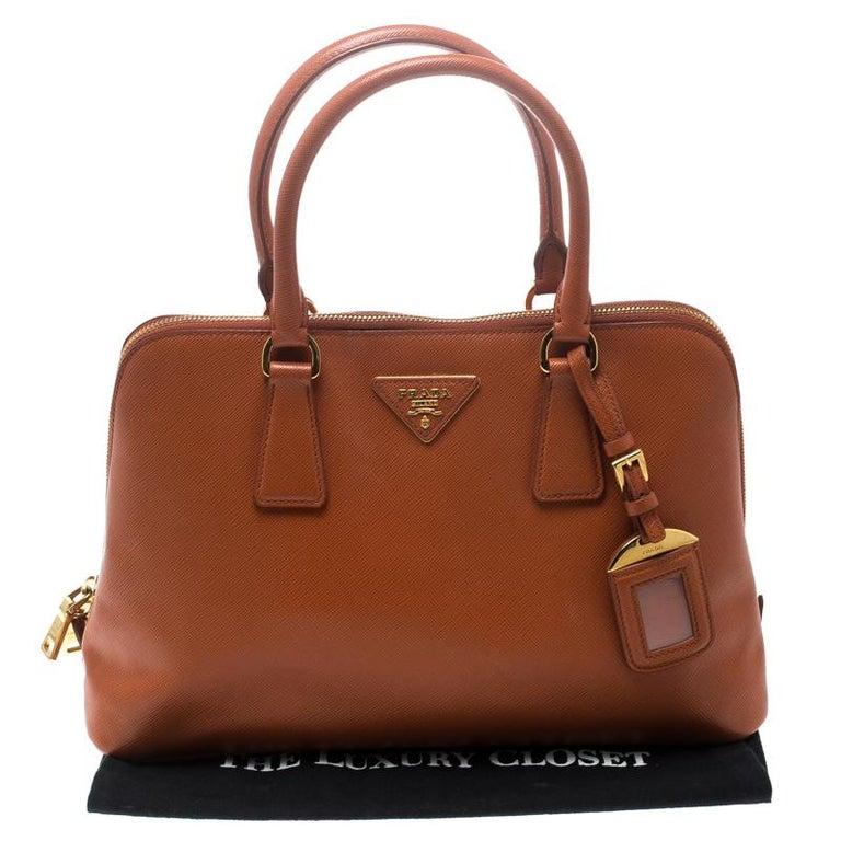 Prada Orange Saffiano Lux Leather Promenade Tote For Sale 7