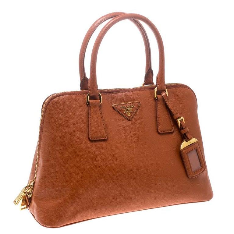 Women's Prada Orange Saffiano Lux Leather Promenade Tote