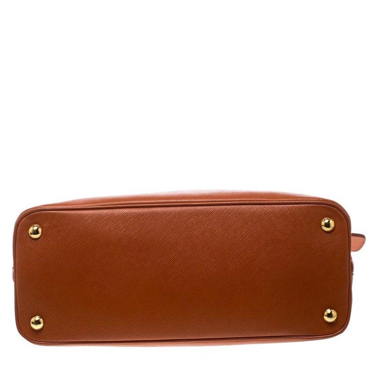 Prada Orange Saffiano Lux Leather Promenade Tote For Sale 1