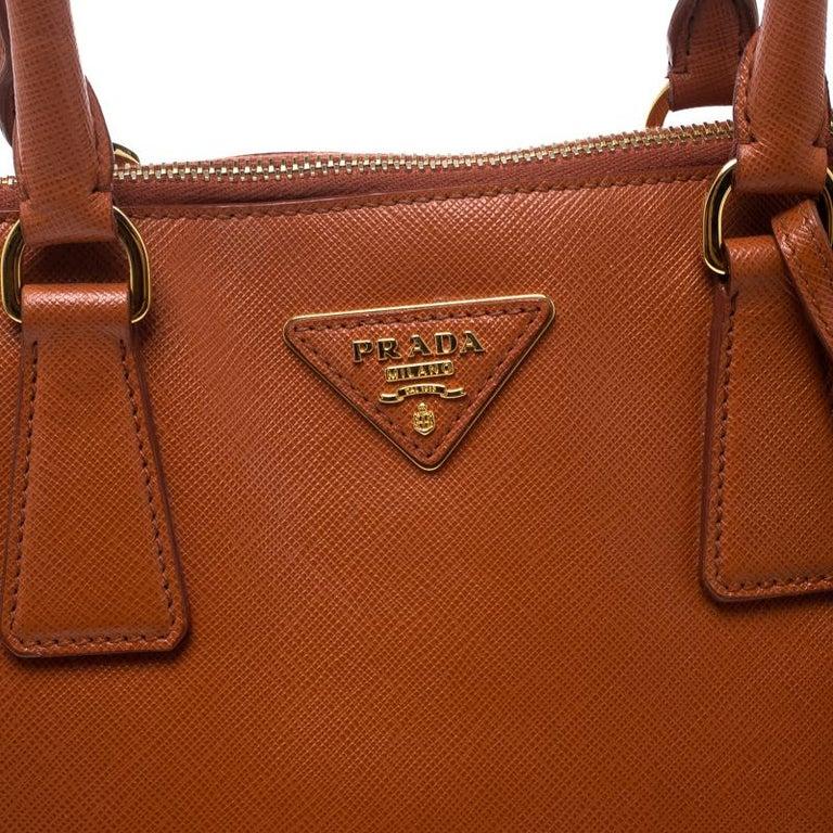 Prada Orange Saffiano Lux Leather Promenade Tote For Sale 2