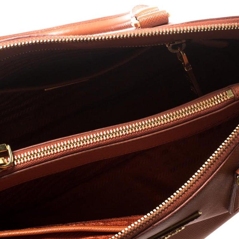 Prada Orange Saffiano Lux Leather Promenade Tote For Sale 3