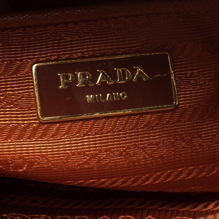 Prada Orange Saffiano Lux Leather Promenade Tote For Sale 4