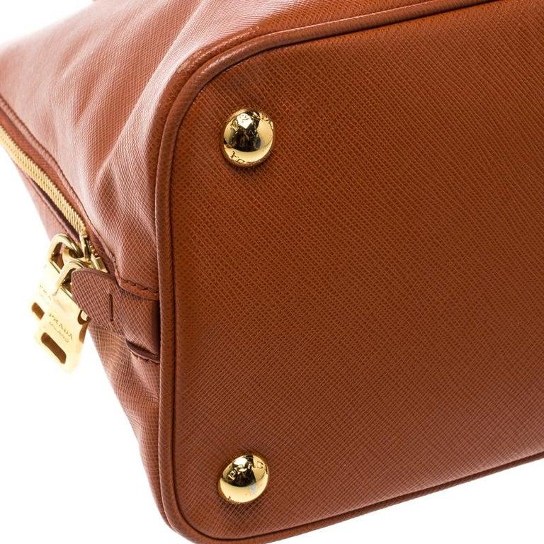 Prada Orange Saffiano Lux Leather Promenade Tote For Sale 5