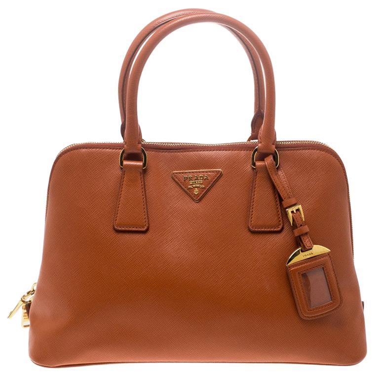 Prada Orange Saffiano Lux Leather Promenade Tote For Sale