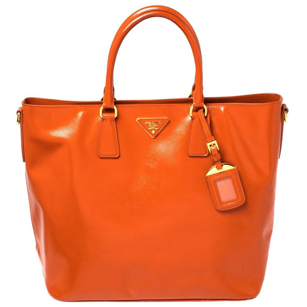 Prada Orange Saffiano Patent Leather Tote Bag