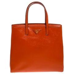 Prada Orange Saffiano Vernice Leather Parabole Tote