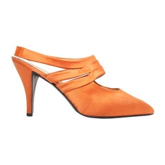 Prada Orange Satin Slingbacks