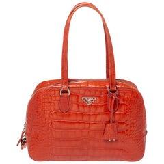 Prada Orange Shine Croc Embossed Leather Bauletto Satchel