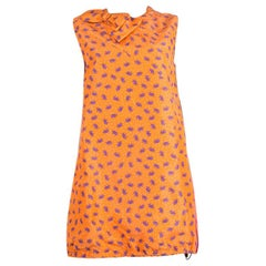 PRADA orange silk ELEPHANT PRINT Sleeveless Cocktail Dress 44