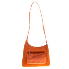 Prada Orange Suede and Satin Shoulder Bag