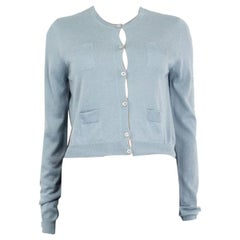 PRADA pale blue cashmere & silk Crewneck Cardigan Sweater 42 M