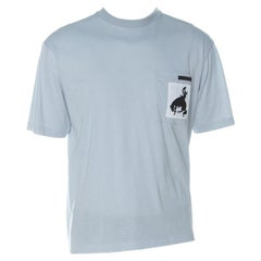 Prada Pale Blue Cotton Contrast Patch Pocket Crew Neck T Shirt L