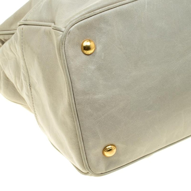 Prada Pale Green Glazed Leather Top Handle Bag For Sale 5