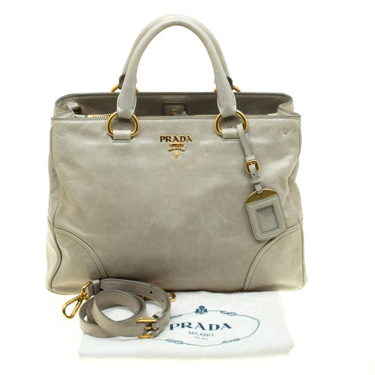 Prada Pale Green Glazed Leather Top Handle Bag For Sale 6