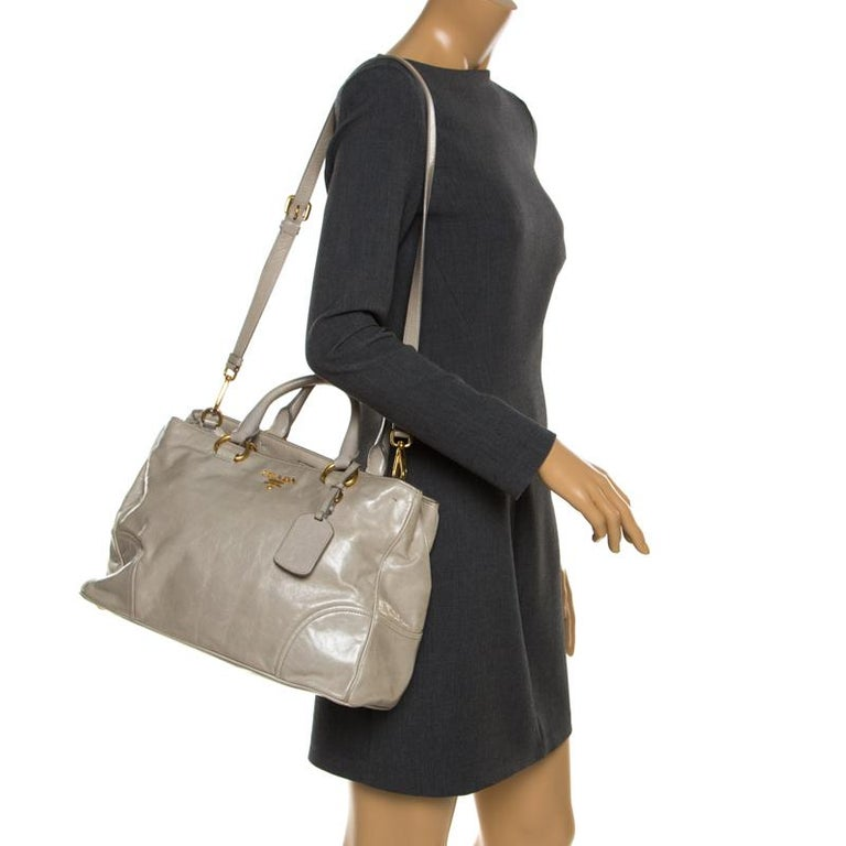 Brown Prada Pale Green Glazed Leather Top Handle Bag For Sale