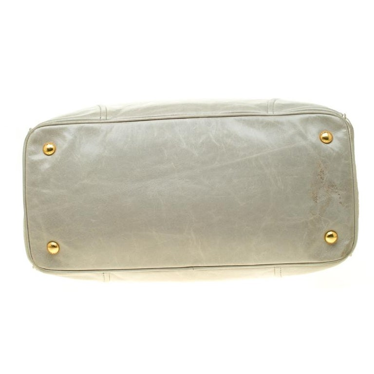 Women's Prada Pale Green Glazed Leather Top Handle Bag For Sale