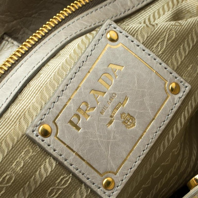 Prada Pale Green Glazed Leather Top Handle Bag For Sale 1