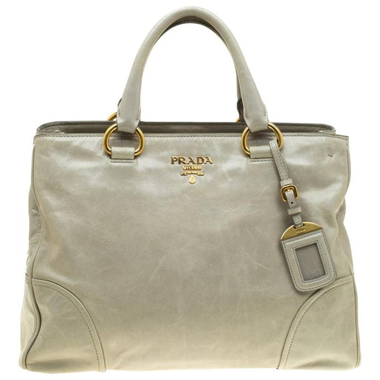 Prada Pale Green Glazed Leather Top Handle Bag For Sale