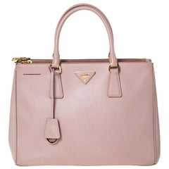 Prada Pale Pink Saffiano Lux Leather Medium Double Zip Tote