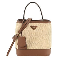 Prada Panier Bucket Bag Straw and Leather Medium