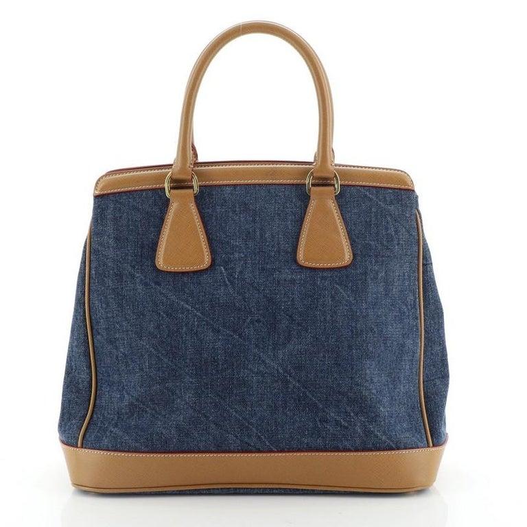 Black Prada Parabole Handbag Denim and Saffiano Medium